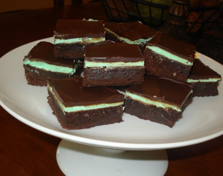 Chocolate Mint Brownies. Made with sugar, eggs, vanilla, butter, flour ...