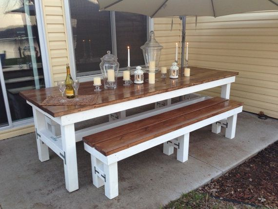 Backyard Table Match : Beautiful Wooden Large Outdoor Table & Matching by TonkaTradingCo,
