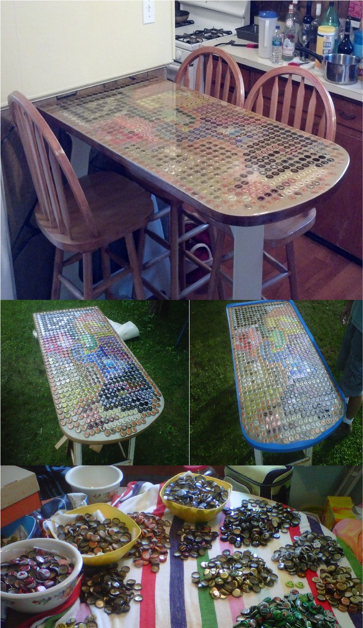 Pin by mary fase on everybody get your craft on pinterest for Beer cap bar top