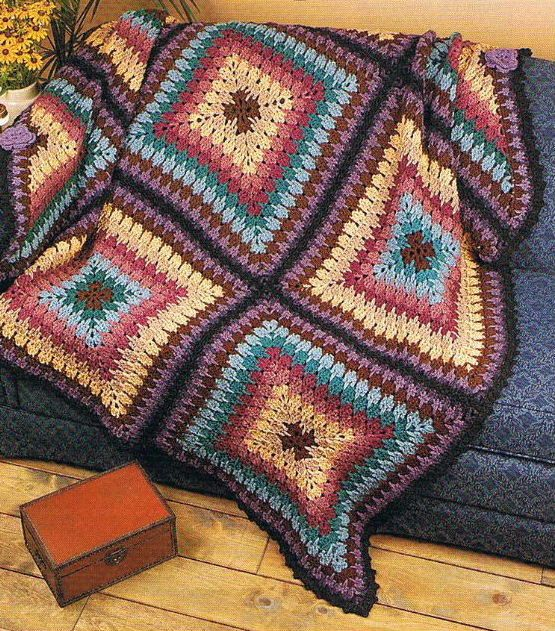 Crochet Patterns For Blankets Square Patterns : GEOMETRIC SQUARES - Crochet Afghan Blanket PATTERN