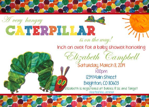 The Very Hungry Caterpillar Invitations with nice invitation layout