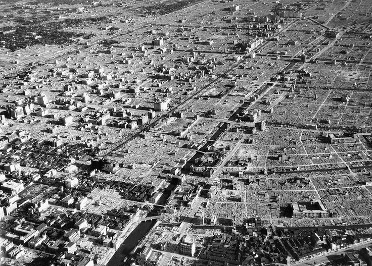 The terrible damage done to Tokyo by American bombers can be seen in what was once a residential district in the Japanese capital, viewed months later, on September 10, 1945. Only large well constructed buildings remain intact.