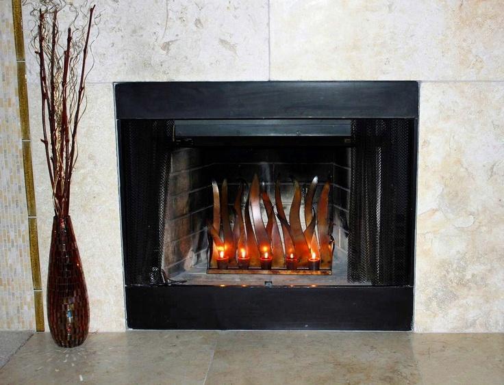Metal Candle Holder Tabletop Sculpture Fireplace Insert For Tea L