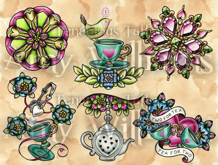 Neo Traditional Teacup FlashNeo Traditional Flash Art