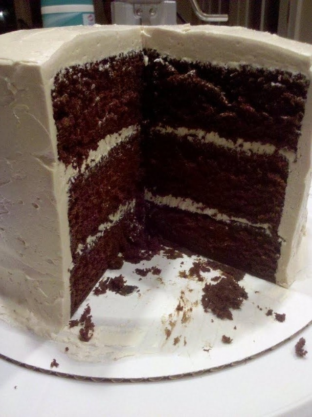 cake; devil's food cake with brown sugar italian buttercream frosting ...