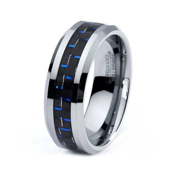 mens tungsten carbide wedding band ring 8mm carbon fiber
