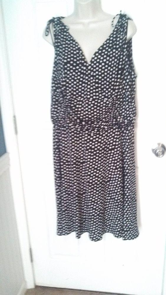 Studio 1940 20w plus size polka dot dress black amp white ruching gorge