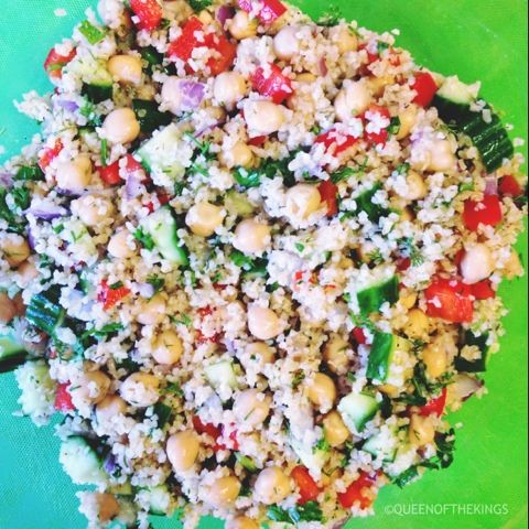 ... Bulgur Salad with Cucumbers, Red Peppers, Chick Peas, Lemon and Dill