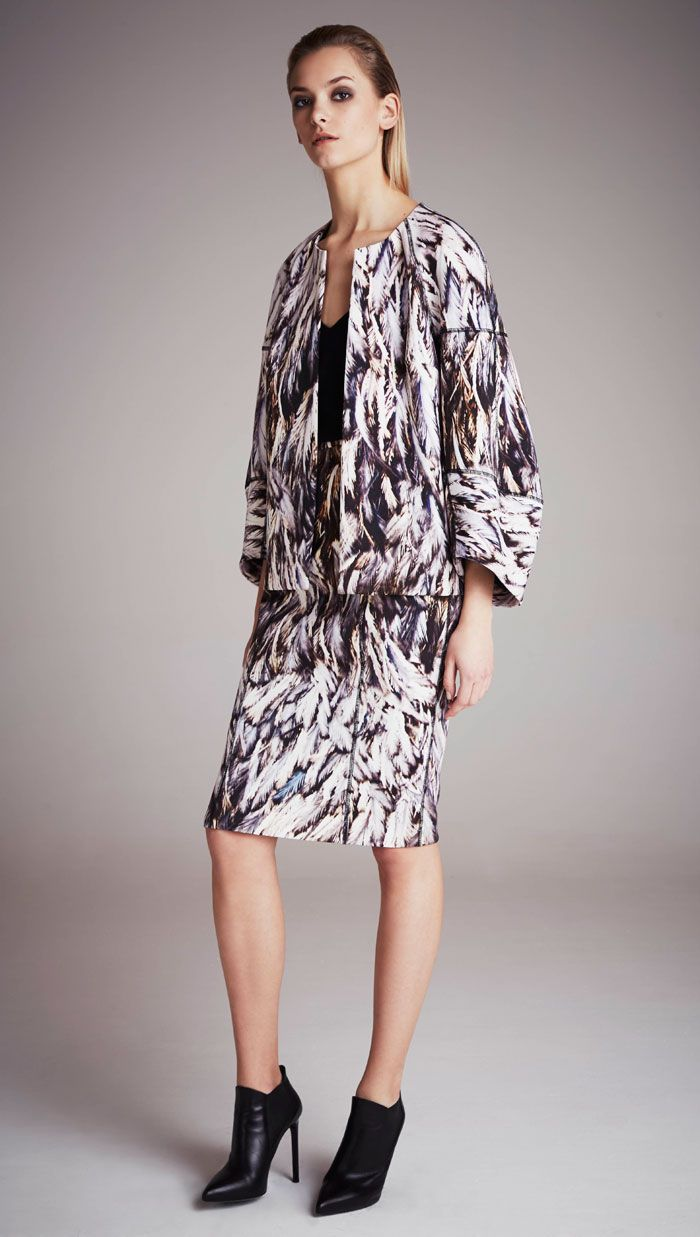 Amanda Wakeley Feather Print Jacket & Skirt Fall '14