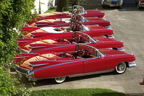 Look at all of those Red Cadillac Fins!