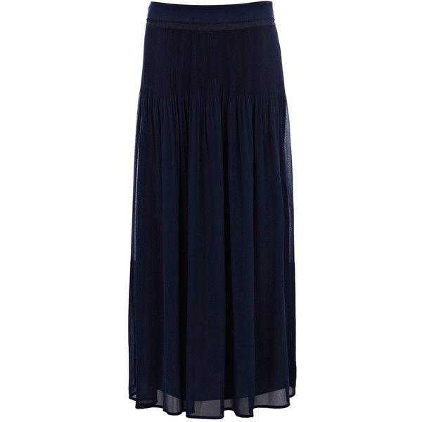 navy chiffon pleated maxi skirt fashion
