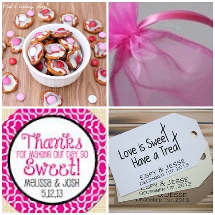 """pretzels in a bag and finish off with a tag using a cute """"love is"""