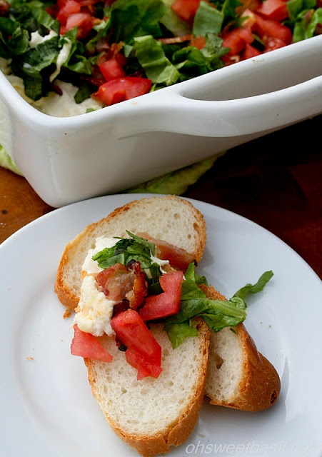 BLT Dip with bread or crackers - mayo, cream cheese, bacon, lettuce ...