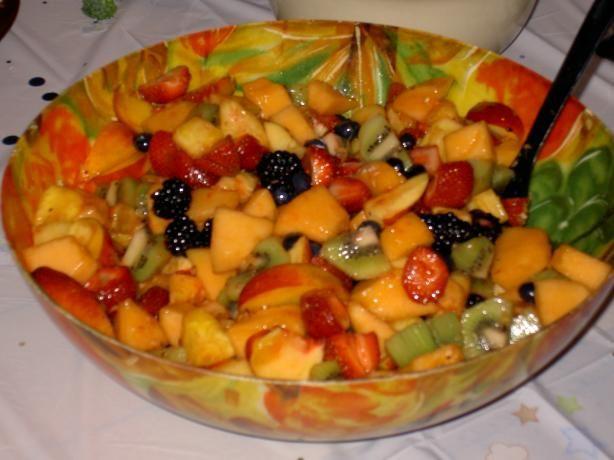 fruit salad with honey ginger lime dressing...although I use lemon too