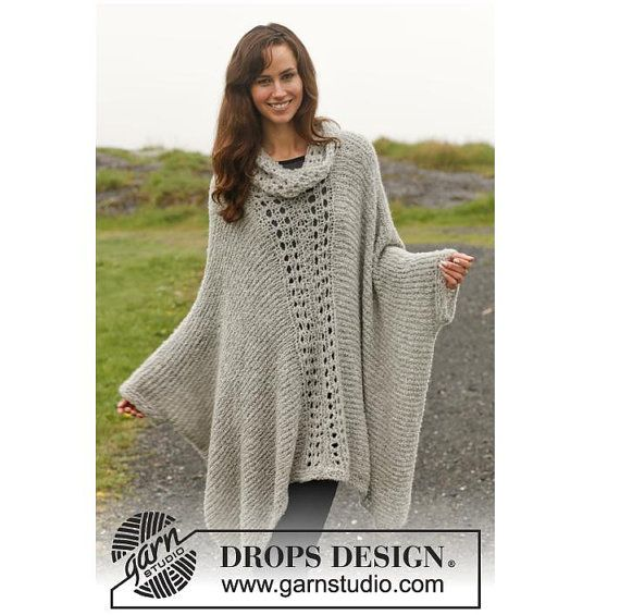 Poncho Knitting Pattern : Knitted Poncho with Lace Pattern - Plus size poncho - Alpaca