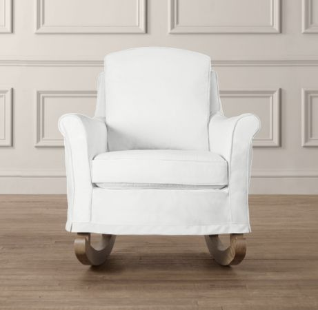 """Roll Arm Rocker With Slipcover 27""""W x 35""""D x 36""""H (comes with a pale pink or aqua piping) $1299"""