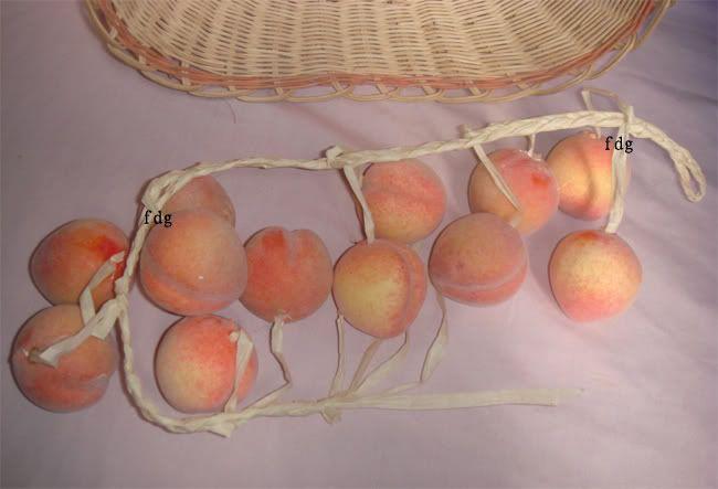 PEACH kitchen decor  Details about 12 fake peach string artificial