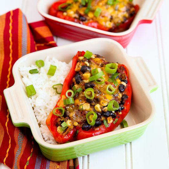 Black bean chili stuffed peppers