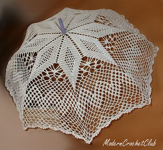 Crochet Umbrella : parasol in WHITE or IVORY, crochet lace umbrella, victorian parasol ...
