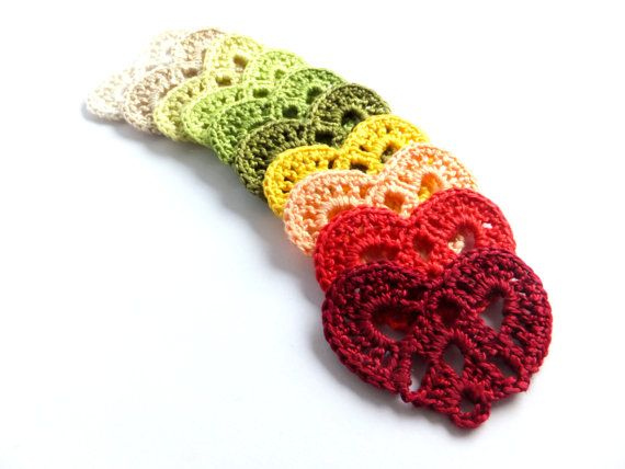 Crocheted hearts applique embellishments