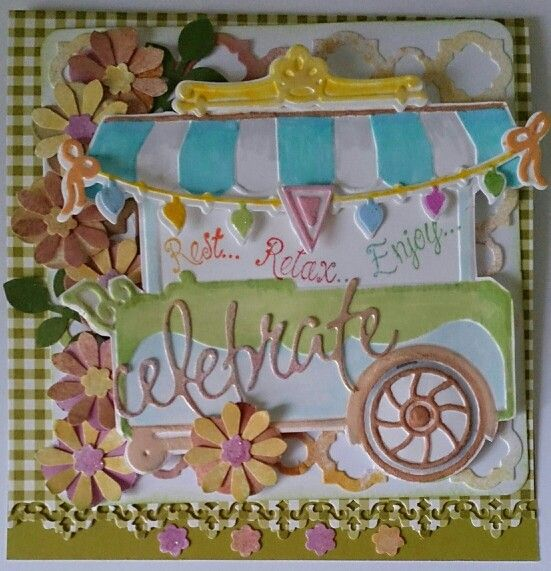 Sizzix Sweet shoppe dies and enbossing set, Penny Black 'celebrate', Impressions Obsession word stamp, carl punches for flowers.. Tattered Angel ink sprays for colours.....by Helenof3