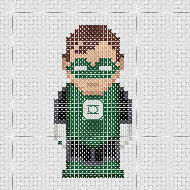 Cross stitch DC Comics Justice League Green Lantern.