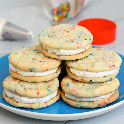 Funfetti Sandwich Cookies   yummy   Pinterest