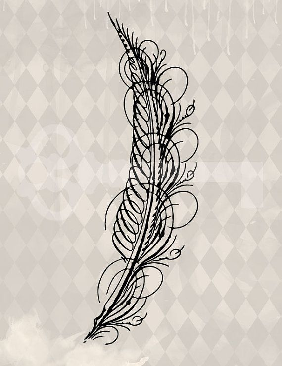 Calligraphy Feather Graphic Digital Download Image No