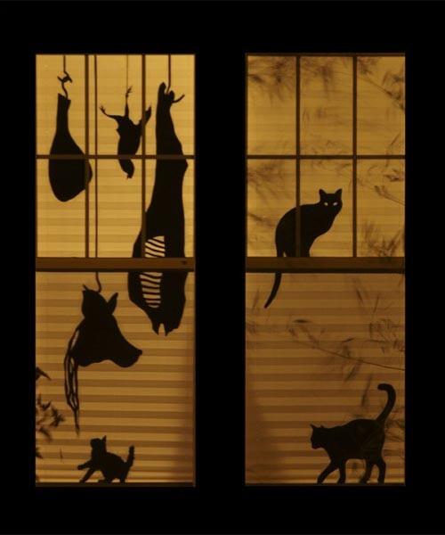 spooky halloween window silhouette halloween pinterest. Black Bedroom Furniture Sets. Home Design Ideas