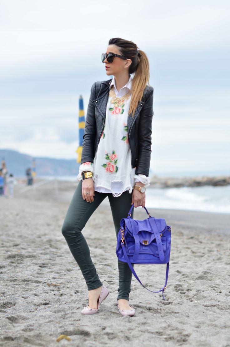 Floral & leather jacket   Wear me out!   Pinterest