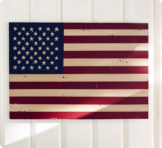 american flag on wall
