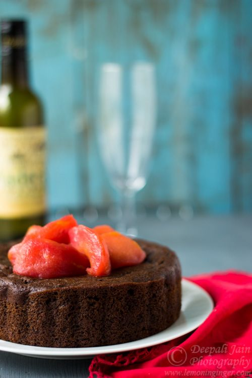 Eggless Amaranth Chocolate Cake Topped with Spiced Pear