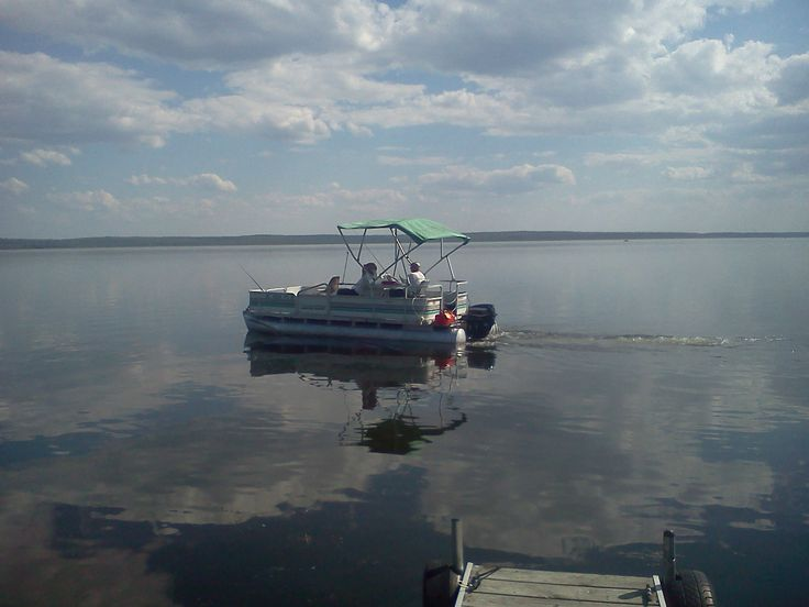 Pontoon boat on fletcher 39 s pond for Small fishing boats for ponds