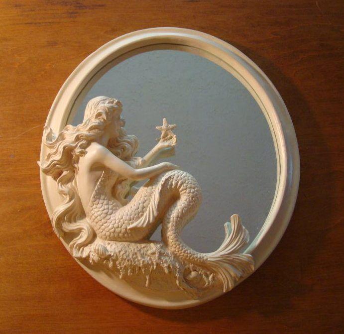 Gorgeous mermaid mirror w starfish nautical beach seaside for Ocean home decor