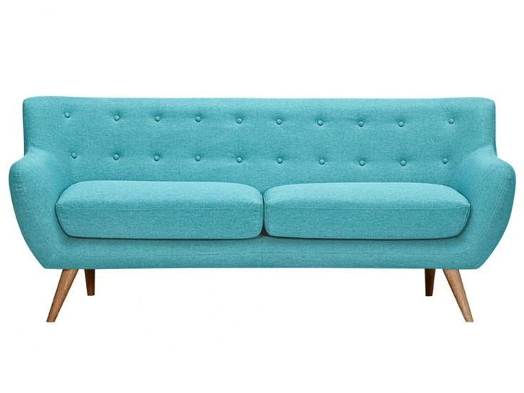 Canap 3 places en tissu serti bleu turquoise avec - Canape bleu turquoise ...