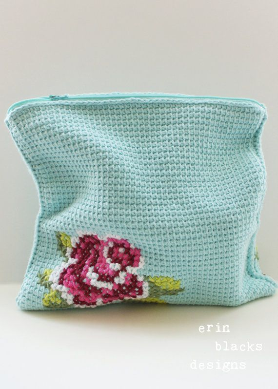 Crochet Clutch Pattern : DIY Tunisian Crochet PATTERN - Cotton Pink Rose Bloom Clutch (11 x 11 ...