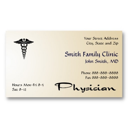 Physician doctor medical symbol business card for Medical doctor business card
