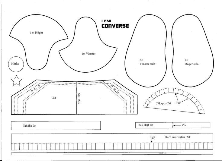 converse baby shoe template .