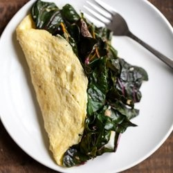 Garlicky Greens and Goat Cheese Omelette — Punchfork
