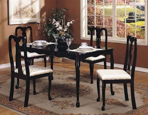 dinette sets 5pc dinette set queen anne style in black finish dining