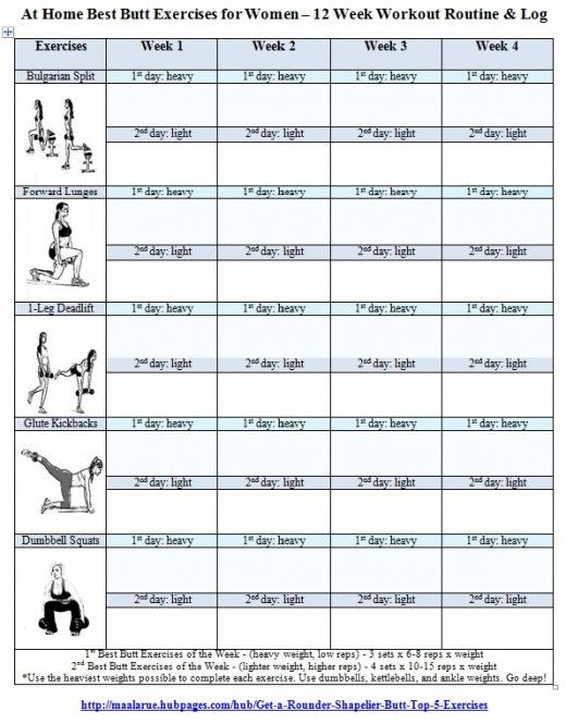 Best Butt Exercises for Women - Free Printable 12 Week Butt Workout ...