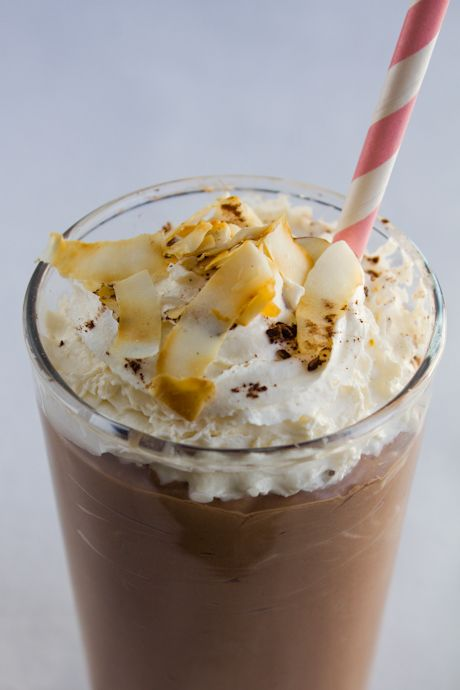 Frothy chocolate coconut milkshake | Yummy things to eat | Pinterest