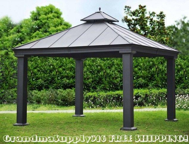 Gazebos toit souple patio deluxe latt brun abri for Abri mural hardtop gazebo