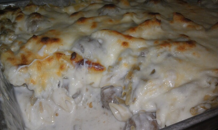 of pasta 1 family size can of Cream of Mushrooms 1 box of Cream Cheese ...