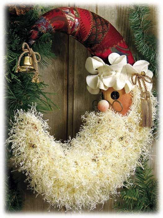 Crescent Santa wreath   Wreath ideas   Pinterest