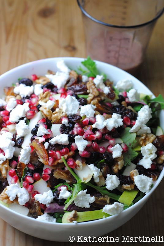 Fruit, nut and goat cheese salad