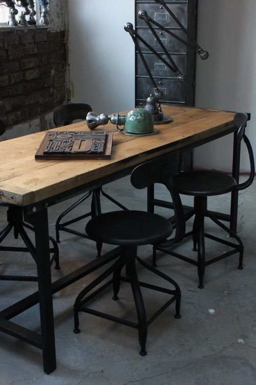Bureau style industriel interior furniture pinterest - Bureau industriel metal bois ...
