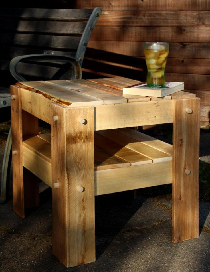 Rustic side table made with pallet wood wood projects for End tables made from pallets