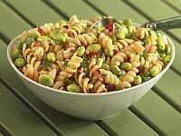 Sesame-soy edamame & pasta salad (using dreamfields pasta or regular)