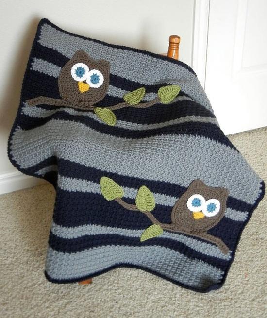 Crochet owl blanket crochet Pinterest